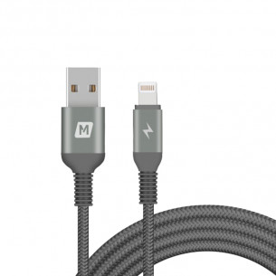 Momax Elite Link Triple-Braided Nylon Lightning To USB Cable Black 2M